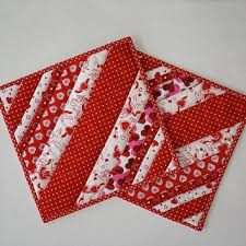 Quilted Scrappy Valentine Pot Holders / from Dockside Designs & Quilted Scrappy Valentine Pot Holders / Hot Pads / Trivets / Mug Rugs /  Candle Mats Adamdwight.com