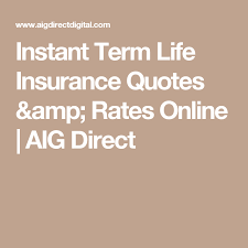 Aig Term Life Insurance Quote Classy Instant Term Life Insurance Quotes Rates Online AIG Direct