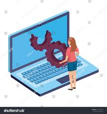 Young Woman Laptop Computer Gear Settings Stock Vector (Royalty Free)  1410472583
