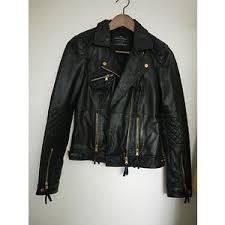 ZARA TRF motorcycle biker genuine leather jacket quilted gol ... & ZARA TRF motorcycle biker genuine leather jacket quilted gold small black |  eBay Adamdwight.com