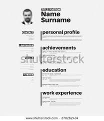 Vector minimalist cv / resume template with nice typogrgaphy design.