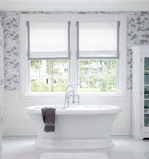white bathroom window treatments color base — the wooden houses