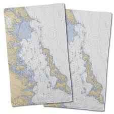 Ct Fishers Island Sound Ct Nautical Chart Hand Towel Set