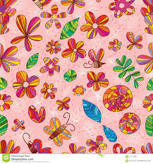 Drawingcolor Flower Drawing Color Pink Cute Seamless Pattern Stock Vector