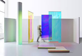 Glass That Changes Color In Light 3ms Iridescent Dichroic Film Display Design Iridescent
