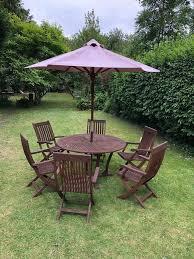 round teak garden wooden table 6 chairs parasol