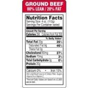 80 lean 20 fat ground beef nutrition fact labels