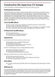 sample resume supervisor position construction site supervisor cv sample myperfectcv