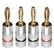 <b>4Pcs</b> B1 <b>4mm</b> Wire Music Speaker Cable <b>Banana Plug</b> Connector ...
