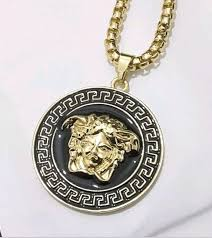 details about medusa head pendant gold chain necklace shiny iced bling icy limited edition