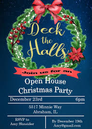 Christmas Open House Invitation Holiday Christmas Open House Party Invitations 2019