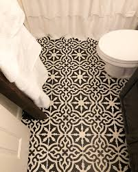 stenciled cermaic tiles in bathroom done blackberry house paint black and white tile floor stencils l13 stencils