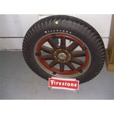 Alloy Wheel Display Stand original Firestone wood spoke tire 100's with newer Firestone 96