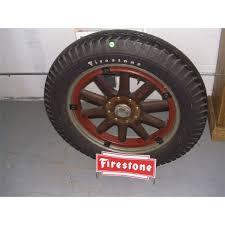 Alloy Wheel Display Stand original Firestone wood spoke tire 100's with newer Firestone 96