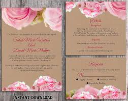 wedding invite template download diy rustic wedding invitation template set editable word file