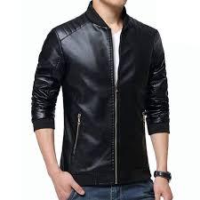 black artificial leather jacket for men