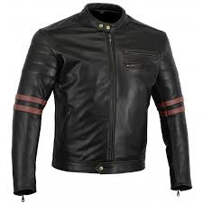 bikers gear the rocker motorcycle black leather cafe racer jacket ce1621 1 pu armour