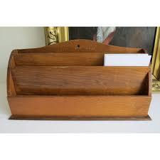 vintage desk letter rack holder wooden paper art deco large
