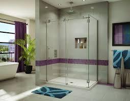 luxury sliding shower door with a rectangular base in fleurco kinetic line