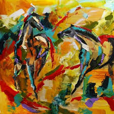 escape of the carousel ponies abstract horse painting by laurie pace by laurie justus