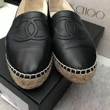 chanel espadrilles black lambskin leather size 37 luxury accessories on carou