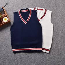 ese jk sleeveless sweater cross stripe neckline british   ese jk sleeveless sweater cross stripe neckline british school uniform
