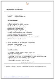 Sample Resume For Freshers Commerce Graduate The Best Letter Sample