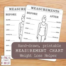 Weight Loss And Inches Tracker Printable Body Measurements Chart Bullet Journal Inches Lost Etsy