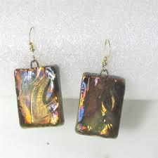 Artisan Designer Golden Metallic Artisan Handmade Designer Earrings Raku Glaze
