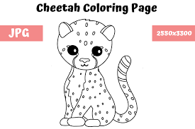 You can now print this beautiful cheetah coloring sheets for kids98df coloring page or color online for free. Coloring Page For Kids Cheetah Graphic By Mybeautifulfiles Creative Fabrica