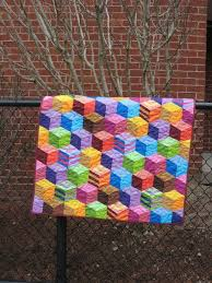 13 best Tumbling block quilts images on Pinterest | Block quilt ... & Tumbling Blocks Handmade Patchwork Baby Quilt by PippaQuilts Adamdwight.com