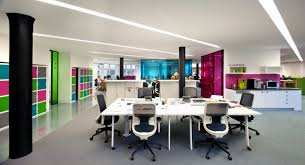 funky office design. White Workstations With Bright Coloured Walls And Storage Cubicles In This Funky Office Design E