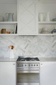 Good Half Tiled Marble Chevron Backsplash