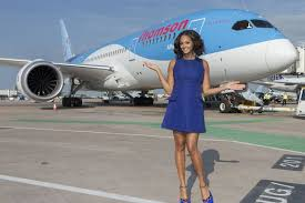 alesha dixon shows off the thomson airways 787 dreamliner at manchester airport
