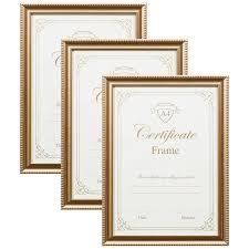 302583 3pk a4 certificate gold frames main1