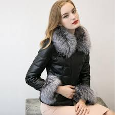 women autumn real leather jacket coat fox fur collar long sleeve winter women fur outerwear coat