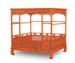 Chinese Classical Canopy bed Queen storage full double Bed Frame ...