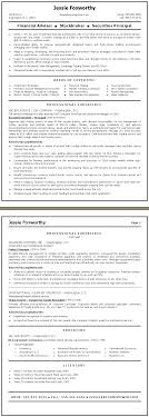finance resume sample financial advisor stockbroker