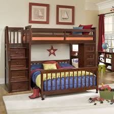 kids bunk bed with stairs. This Immense Dark Stained Wood Frame Bunk Bed Features The Perpendicular Lower Design, Built Kids With Stairs