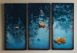 mesmerizing pictures three panel life of leaves on water blue amazing wall art painting pinterest mysterious on 3d wall art painting designs with wall art contemporary decoration wall art painting the wall art