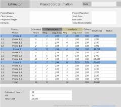 free estimate template download project cost estimator excel template free download