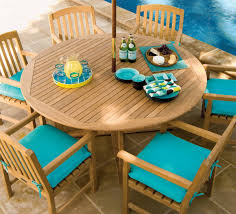 oxford garden round sa outdoor teak wood dining table