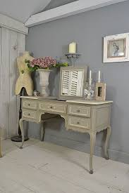 #letstrove A beautiful and unique Vintage French Dressing Table, with  drop-down mirror and hoof feet - painted in Little Greene Serpentine with  Wood Ash ...