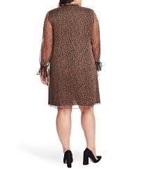 Cece Plus Size Long Sleeve Contrast Ribbon Cuff Detail Leopard Print Tie Neck Shift Dress
