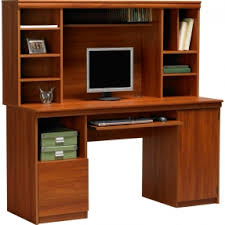 Wood computer desk with hutch 4