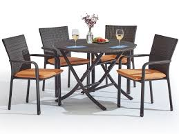 havana 5 pc aluminum woven resin wicker bistro set with 42 round folding table