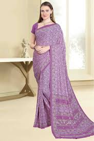 Light Purple Color Saree Crepe Printed Saree In Light Purple Colour