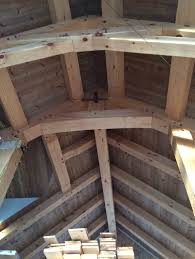 timber frame rafters and underside of tongue and groove roof