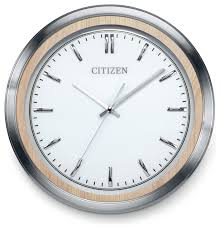 gallery clock with white dial light beige wood and sliver tone frame contemporary wall clocks by citizen clocks