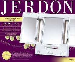 Jerdon Deluxe Lighted Makeup Mirror 50 Value Jerdon Tabletop Tri Fold 2 Sided Lighted Makeup